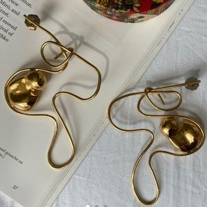 Abstract Gold Hand Made Picasso Inspired Earrings